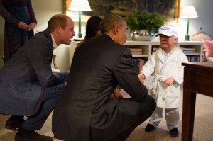 Little Trump in bathrobe