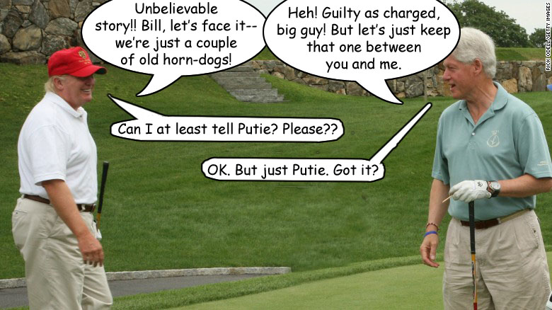 Trump and Clinton golfing